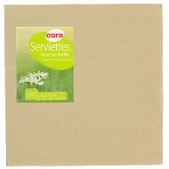Cora serviettes x40 toucher textile ficelle 38x38cm 2 plis