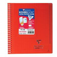 Koverbook reliure intégrale enveloppante 17x22 seyes rouge