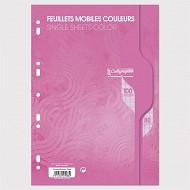 Feuilles simples perforées Rose 21X297 100 pages seyes 80g Calli