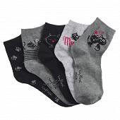 Lot de 5 paires de socquettes fantaisies femme influx basic CHAT 37\41