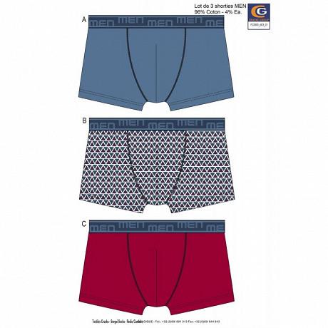 Lot de 3 boxers LOT BLEU/TRIANGLE/ROUGE T6