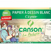 Canson pochette dessin blanc c à grain a4 16 feuilles 180 grammes