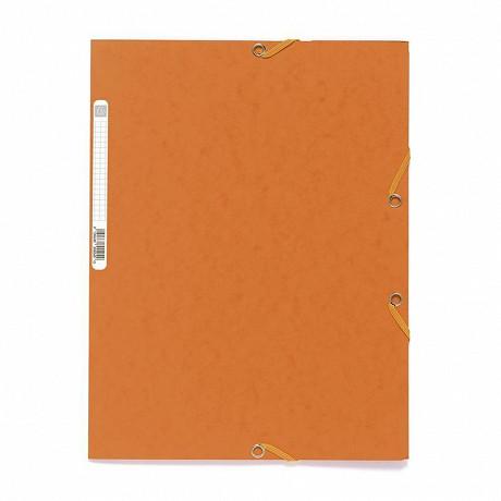 Exacompta chemise à élastiques 3 rabats carte lustrée orange