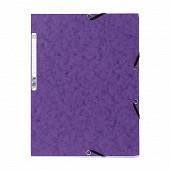 Exacompta chemise à élastiques 3 rabats 24x32 cm carte lustrée violet