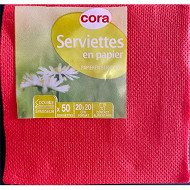 Cora serviettes x50 point a point rouge 20x20cm