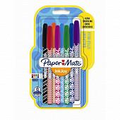 Papermate 8 stylos  inkjoy 100 cap med wrap assortis