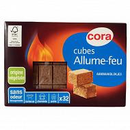 Cora allume feux x32 cubes bois fsc et huile colza sécable