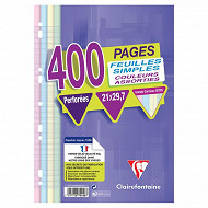 Clairefontaine - Feuilles simples perforées assorties 21X297 400 pages seyes 90g Clairef