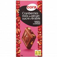 Cora chocolat au lait cranberries noix de pécan 180g
