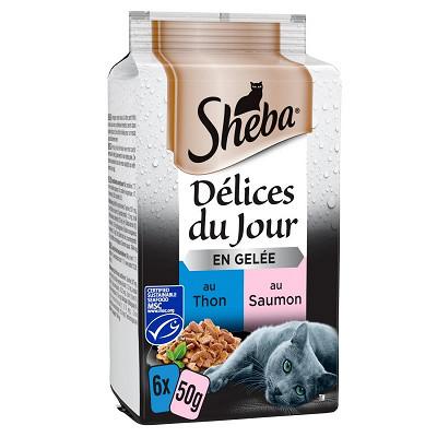Sheba Sheba délices du jour sachet fraicheur poisson en gelée 6x50g