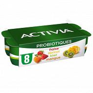 Activia bifidus fruits abricot fraise mangue 8x125g