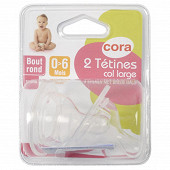 2 tétines col large bout rond silicone taille 1 Cora