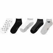 Lot de 5 paires de socquettes invisibles fantaisies Influx Basic NOEUD/POIS 37\41