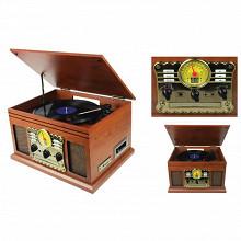 Ledwood Tourne disque vintage  fm, bluetooth, cd, usb, sd, cassette player LD-CS-TP-04