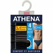 Lot de 3 slips +1 offert Athéna 1901 NOIR/ROUGE/ROUGE/NOIR T7