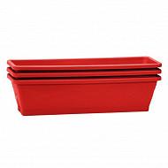 Eda lot 3 balconnières symphonie 50cm + plateaux - rouge rubis