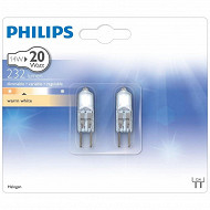 Philips 2 ampoules halogènes capsules G4 - 20 watts, variateur blanc chaud