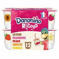 Danonino Rigolo arômatisé aux fruits panachés avec paille 12x125g