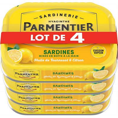 Parmentier Parmentier sardines huile et citron 135g lot de 4