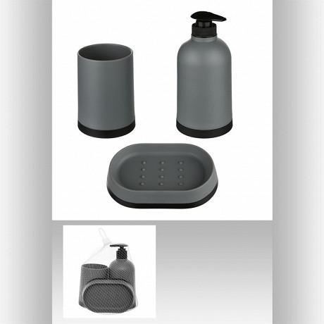 Lot de 3 accessoires de salle de bain - coloris gris