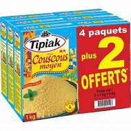 Tipiak lot 6 couscous moyen 1kg maxi format