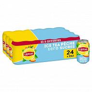 Lipton ice tea peche zero sucres 21x33cl +3 offertes
