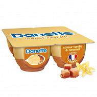 Danette saveur vanille sur lit au caramel 4x125g