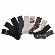 Lot de 10 paires de mi-chaussettes fantaisies garçon NOIR/GRIS/ROUGE 31\35