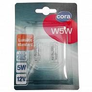 Cora blister 2 lampes W5W culot W2, 1x9,5d 5W 12V