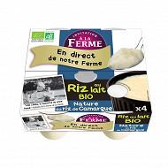 Invitation à la Ferme riz au lait nature bio 4x125g