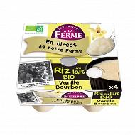 Invitation à la Ferme riz au lait vanille bio 4x125g