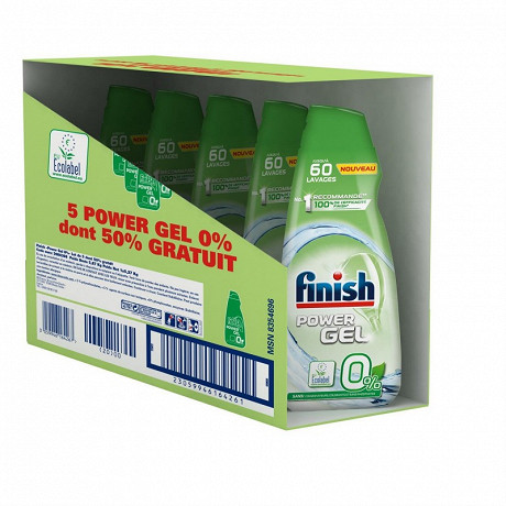 Finish power gel 0% 5x90ml -50% gratuit