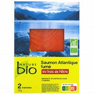 Nature Bio Saumon d'élevage fumé bio 2 tranches 70g