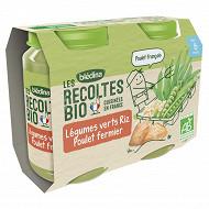 Blédina les récoltes bio leg vert riz poulet 6M 2x200g