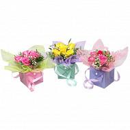 Bqt bulle sac migonette 5 roses gypsophile feuillage