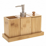 Ensemble bambou : 3 accessoires salle de bain sur plateau