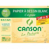 Canson pochettes papier à dessin blanc à grain lot de 3x12 180gm2 24x32cm