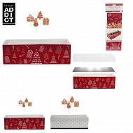 Boîte à bûche carton de noêl 30 cm avec 4 piques décoratifs et support