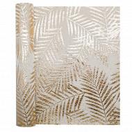 Chemin de table 28X400cm en tissu copa cabana or fond beige