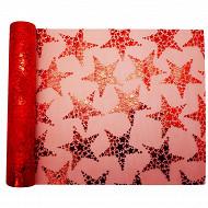 Chemin de table 28X400cm organza estrella rouge