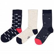 Lot de 3 paires de mi chaussettes fantaisies garçon Influx MARINE/GRIS 36\40