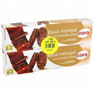Cora biscuit meringue au chocolat suisse lot 2x100g