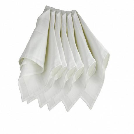 Lot de 6 langes blanc en mousseline coton 70x70cm Kinousses