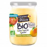 Charles & Alice bio sans sucre ajouté bocal pomme poire vanille 625g