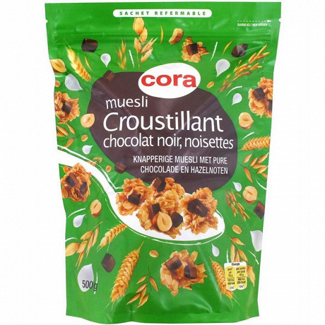 Cora muesli croustillant chocolat noir noisettes 500g