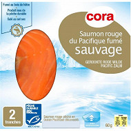 Cora saumon rouge du Pacifique fumé sauvage 2 tranches avec intercalaires 60g