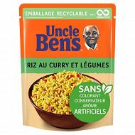 Uncle ben's riz micro-ondable curry légumes 2mn 250g