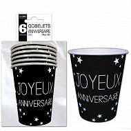 Gobelets x6 noir pur anniversaire 25cl