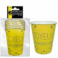 Gobelets x6 jaune soleil anniversaire 25cl