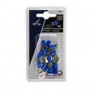 Eloto cosses pre-isolees bleues diametres 4mm + 6mm + 8mm